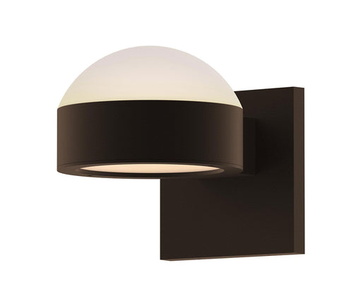 Reals Dome/Plate Outdoor Wall Sconce - Textured Bronze / Up & Down Light