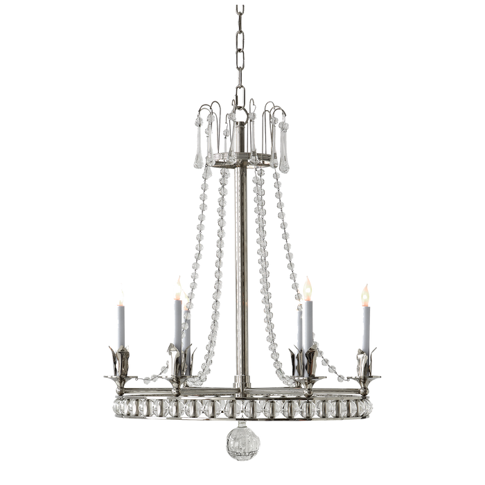 Regency Medium Chandelier - Polished Nickel Finish