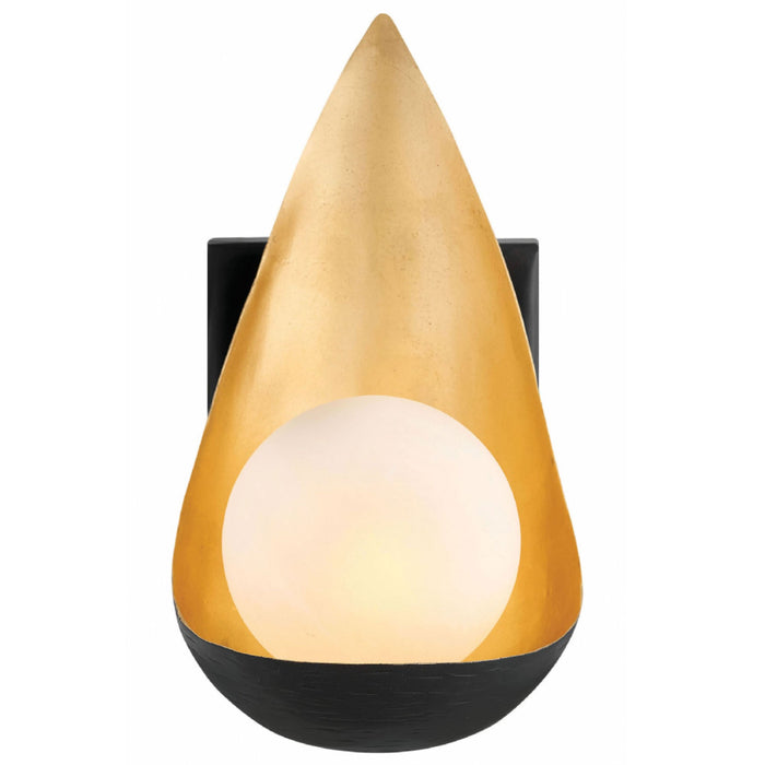 Ren Wall Sconce - Black with Deluxe Gold accents Finish
