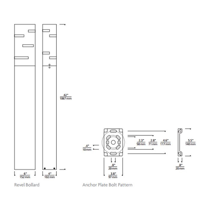 Revel Bollard Landscape Light - Diagram