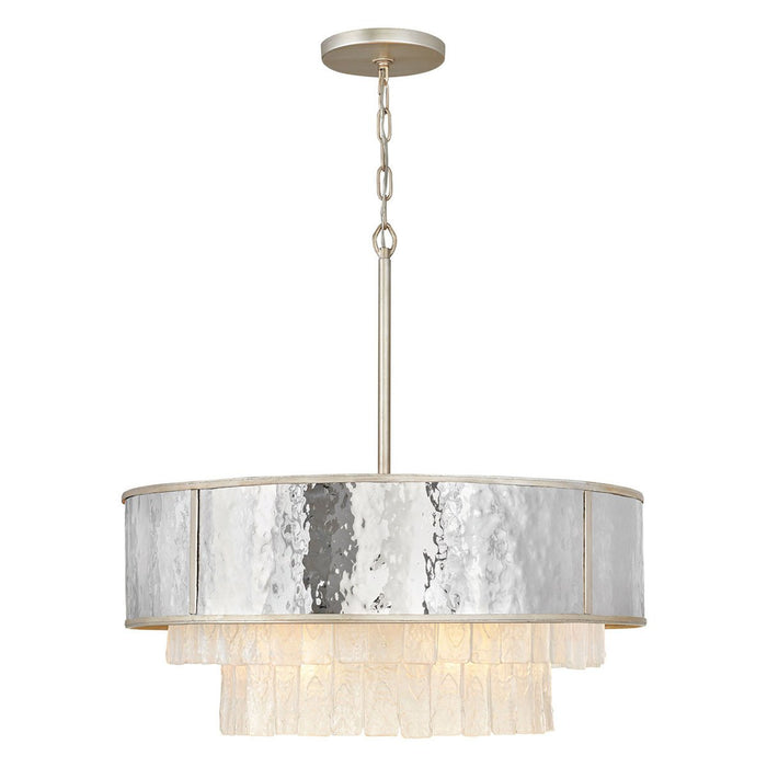 Reverie Medium Chandelier - Hammered Stainless Steel/Champagne Gold Finish