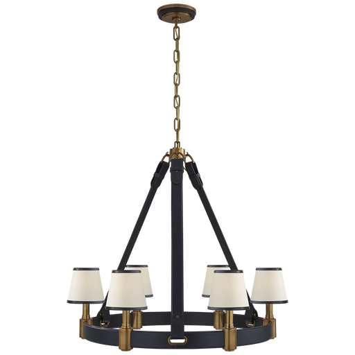 Riley Medium Ring Chandelier - Brass/Navy Leather