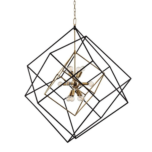 Roundout Large Multi-Cube Pendant - Aged Brass Finish