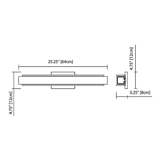 "Rowan 25"" LED Wall Sconce - Matte Black - Diagram"
