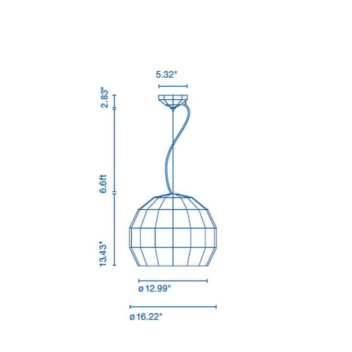 Scotch Club 41 Pendant Light - Diagram