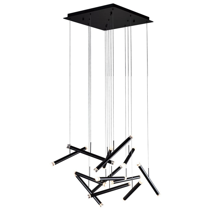 Seesaw 13-Light Chandelier - Satin Dark Gray Finish