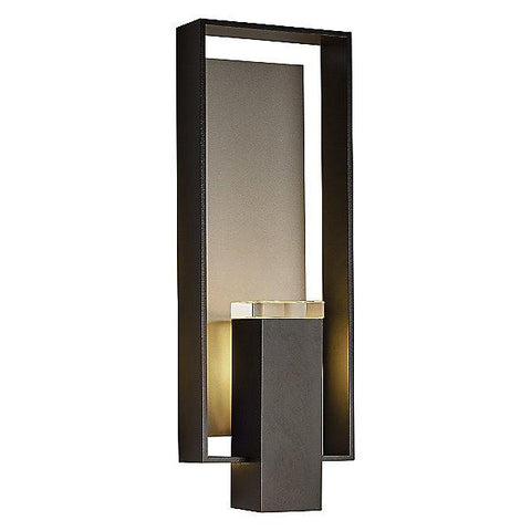 Shadow Box Large Outdoor Wall Sconce - Black/Burnished Steel (Backplate)