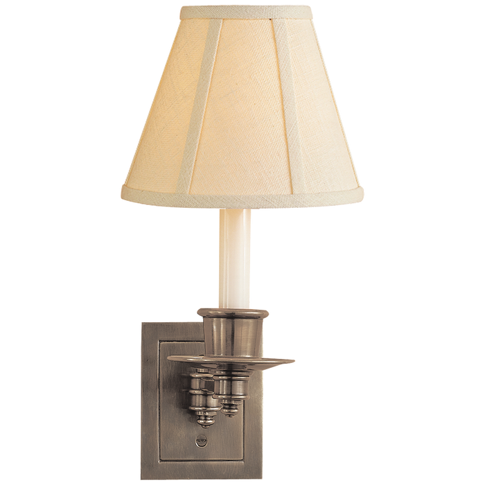 Single Swing Arm Sconce - Antique Nickel Finish with Linen Shade