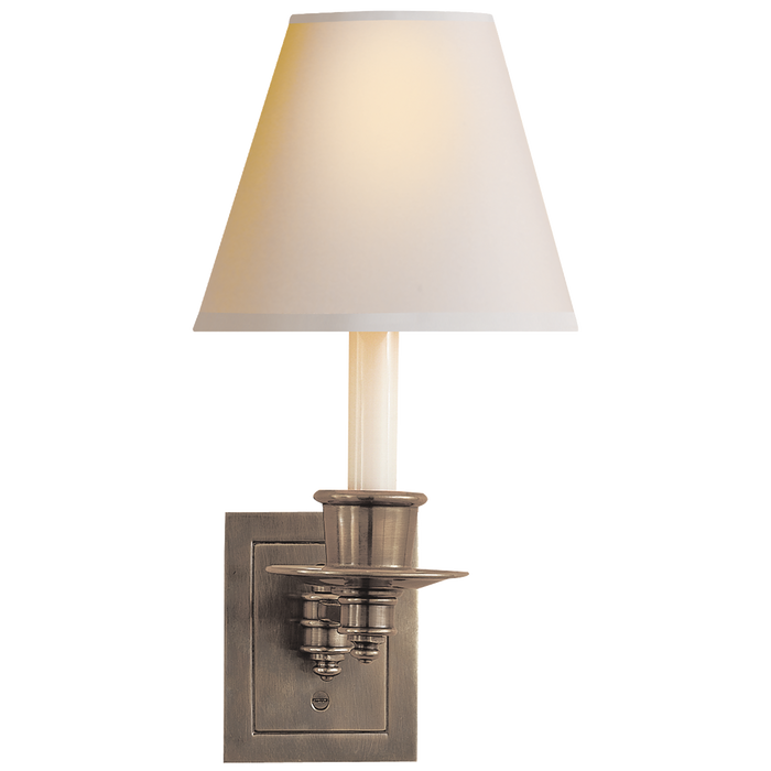 Single Swing Arm Sconce - Antique Nickel Finish with Natural Paper Shade
