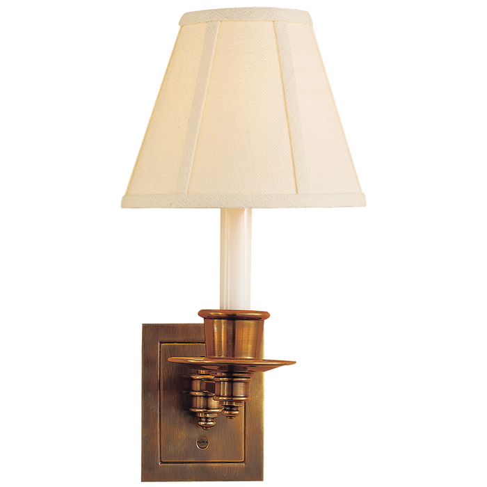 Single Swing Arm Sconce - Hand-Rubbed Antique Brass Finish with Linen Shade