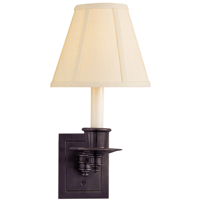 Single Swing Arm Sconce - Bronze Finish with Linen Shade