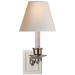 Single Swing Arm Sconce - Polished Nickel Finish with Natural Paper Shade