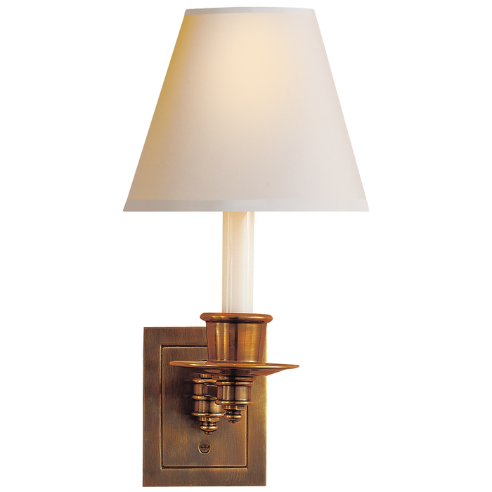 Single Swing Arm Sconce - Hand-Rubbed Antique Brass Finish with Natural Paper Shade