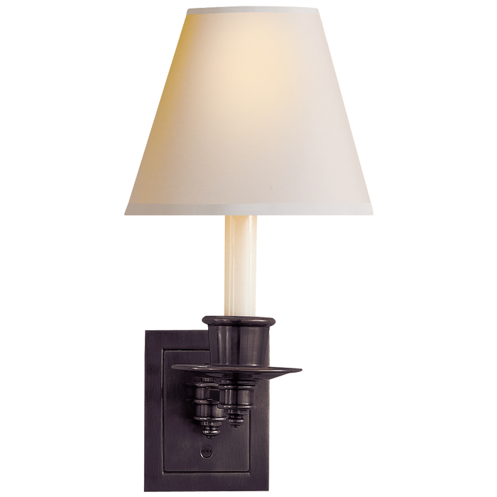 Single Swing Arm Sconce - Bronze Finish with Natural Paper Shade