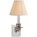 Single Swing Arm Sconce - Polished Nickel Finish with Linen Shade