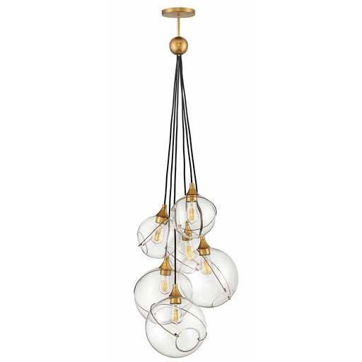 Skye 6-Light Cluster Chandelier - Heritage Brass Finish