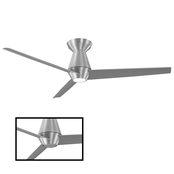 Slim LED Smart Semi-Flush Ceiling Fan - Brushed Aluminum Finish