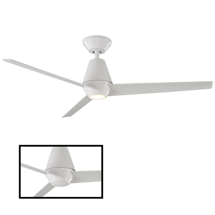 Slim LED Smart Down-Rod Ceiling Fan - Matte White Finish