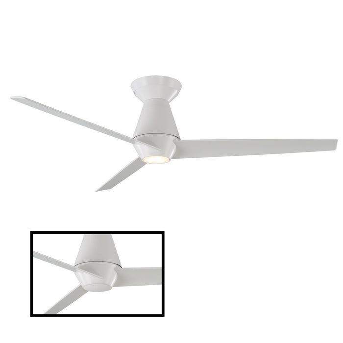 Slim LED Smart Semi-Flush Ceiling Fan - Matte White Finish