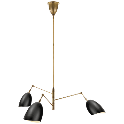 Sommerard Medium Triple-Arm Chandelier Black