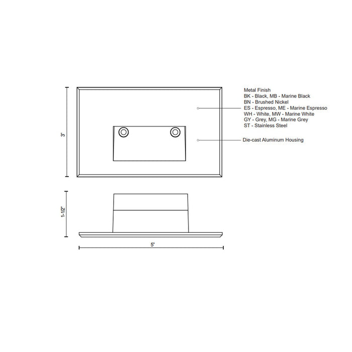 Sonic Horizontal LED Outdoor Step Light - Diagram