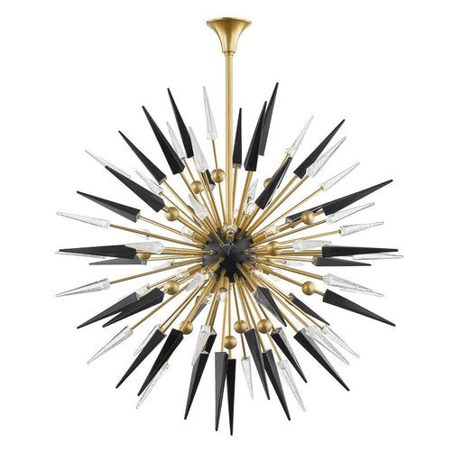 Sparta Large Chandelier - Aged Brass Finish with Black/Clear Glass