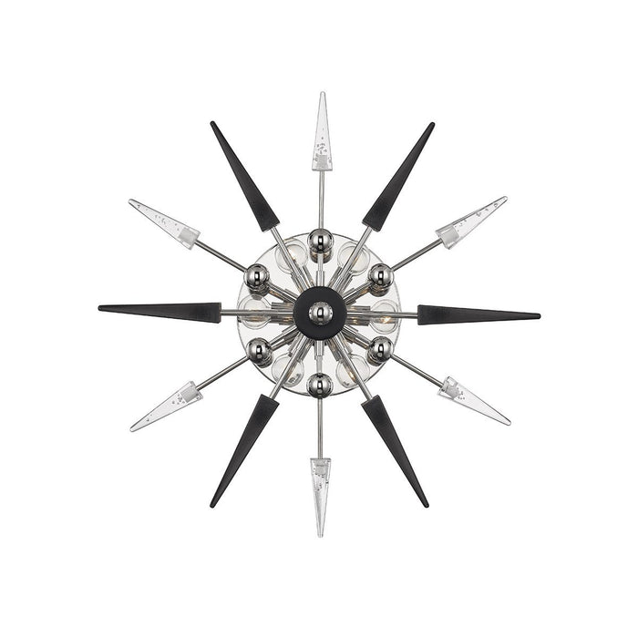 Sparta Wall Sconce - Polished Nickel Finish with Black/Clear Glass