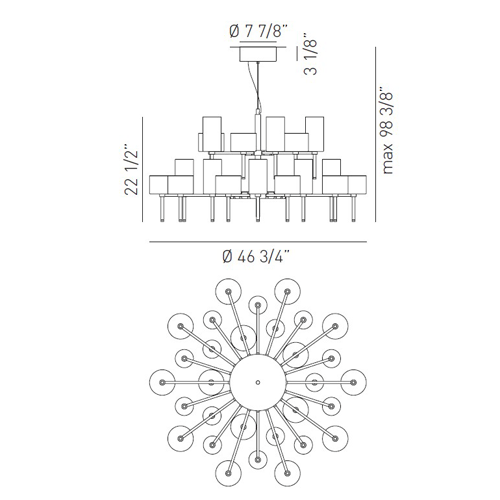 Spillray 30 LED Chandelier - Diagram