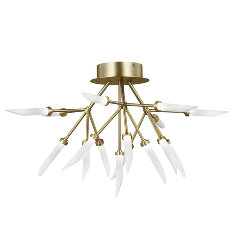 Spur Ceiling Light Fixture - Aged Brass