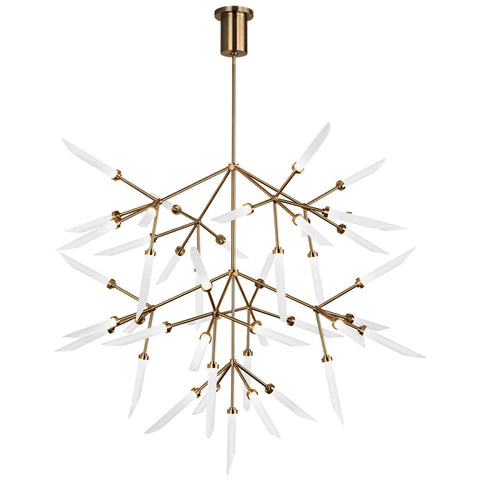 Spur Grande LED Chandelier Aged Brass