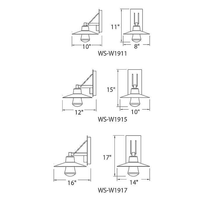Suspense Outdoor LED Wall Sconce - Diagram