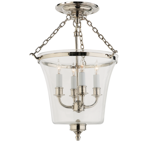 Sussex Semi-Flush Bell Jar Lantern Polished Nickel