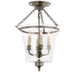 Sussex Semi-Flush Bell Jar Lantern Antique Nickel