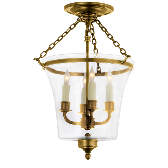 Sussex Semi-Flush Bell Jar Lantern Antique Brass