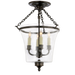 Sussex Semi-Flush Bell Jar Lantern Bronze