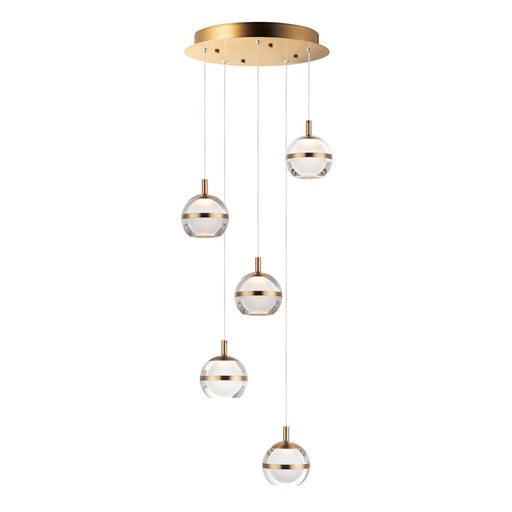 Swank LED 5-Light Pendant - Natural Aged Brass