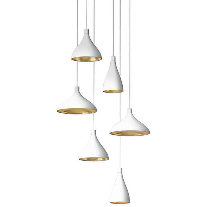 Swell 6-Light Chandelier - White/Brass