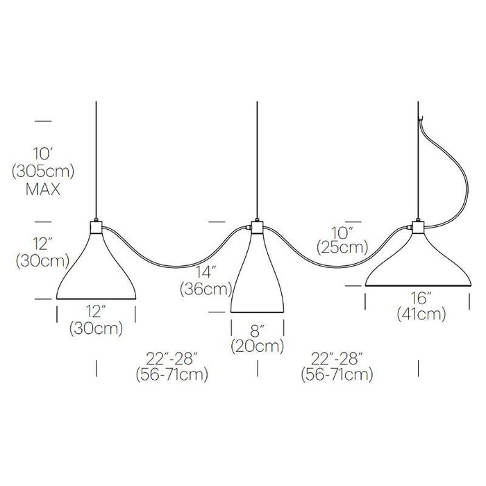 Swell String 3 Mixed Modular Suspension Light - Diagram