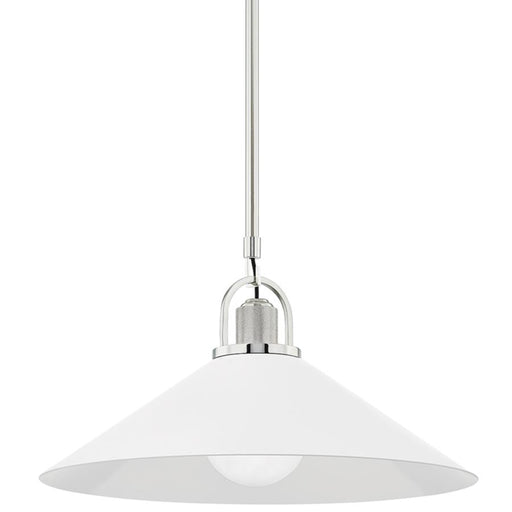 "Syosset 20"" Pendant - Polished Nickel/White Finish"