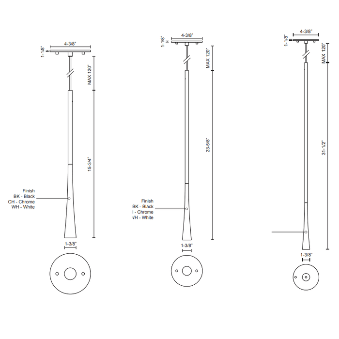 Taper LED Mini Pendant - Diagram