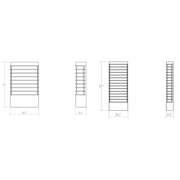 Tawa Wide LED Outdoor Wall Sconce - Diagram
