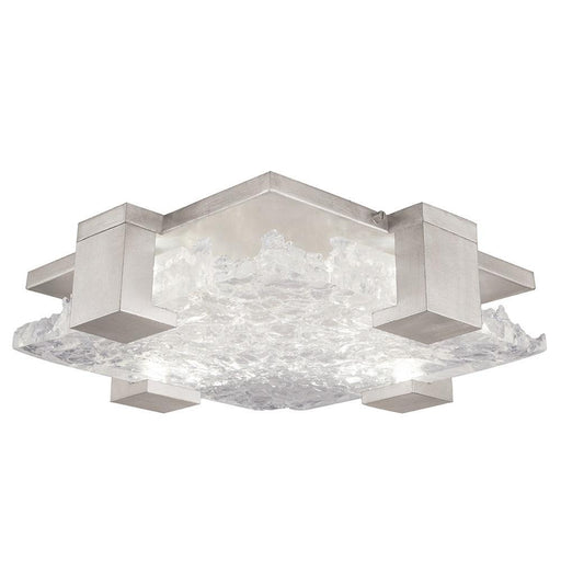 Terra Semi Flush Mount - Silver Leaf with Clear Glass