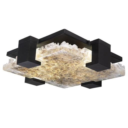 Terra Outdoor/Indoor Semi Flush Mount - Hand Rubbed Black Iron with Highlighted Antique Gold Leaf Glass