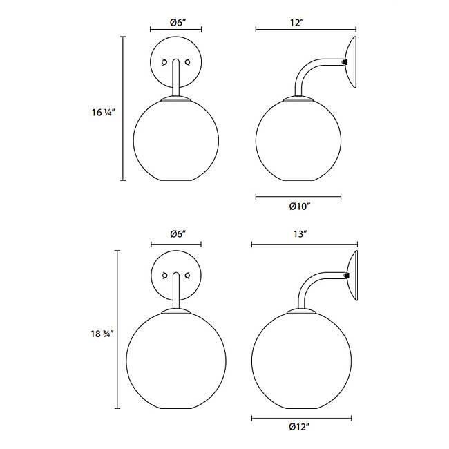 "Tribeca 12"" Wall Sconce - Diagram"