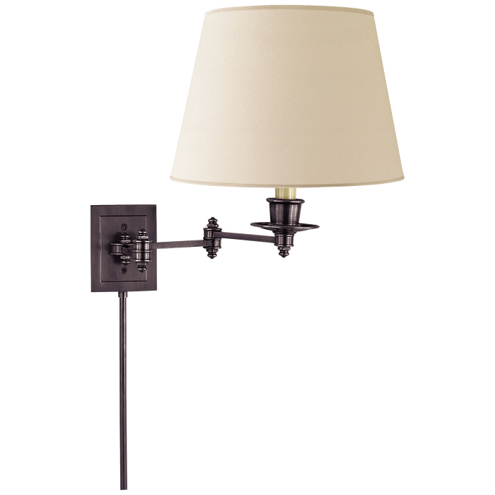 Triple Swing Arm Wall Lamp - Bronze Finish with Linen Shade