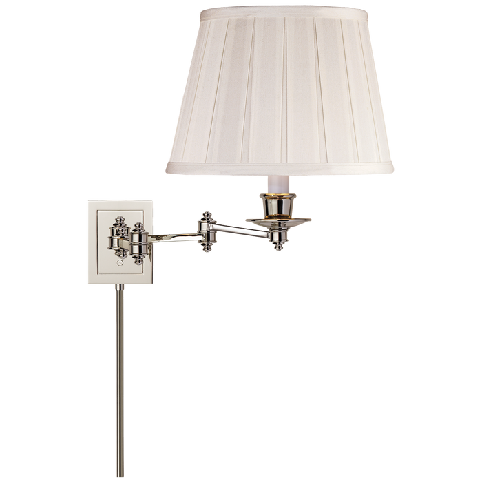 Triple Swing Arm Wall Lamp - Polished Nickel Finish with Silk Shade