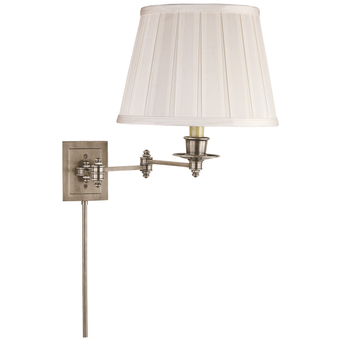 Triple Swing Arm Wall Lamp - Antique Nickel Finish with Silk Shade