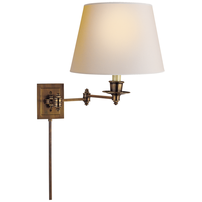 Triple Swing Arm Wall Lamp - Hand-Rubbed Antique Brass Finish with Natural Paper Shade