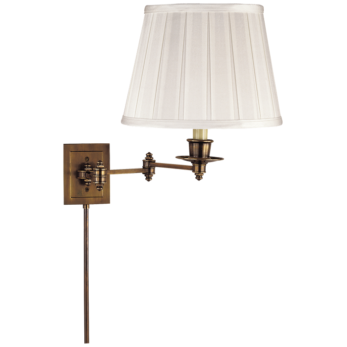 Triple Swing Arm Wall Lamp - Hand-Rubbed Antique Brass Finish with SilkShade