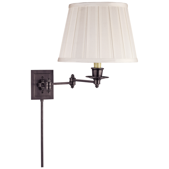 Triple Swing Arm Wall Lamp - Bronze Finish with Silk Shade